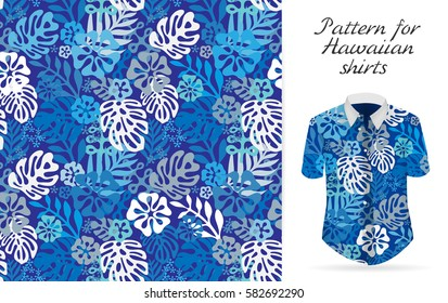 Tropical aloha pattern.  Hawaiian exotic flowers pattern on shirt mockup.  plants and flowers seamless background. Blue color tropical florals.