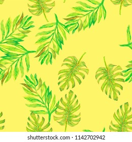 Tropical autumn seamless watercolour monstera pattern. Hand painted watercolor monster. Tropical seamless botanical watercolor exotic floral pattern. Palm leaves. Yellow, green rainforest leaf.