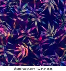 Tropical bamboo leaves, jungle leaf seamless floral pattern dark batik background. Artistic palms pattern with seamless repeating design. Pattern for summer designs.