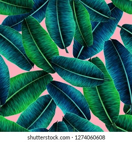 Tropical banana leaves, jungle leaf seamless floral pattern pink background. Artistic palms pattern with seamless repeating design. Pattern for summer designs.