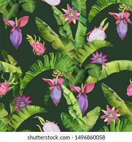 Tropical banana leaves pattern with dragonfruts, passiflora and banana flovers. Perfect for fabric, cards and package design.
