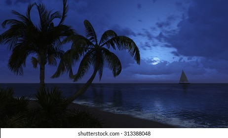 Tropical beach with coconut palm silhouettes and with sailing boat in the distance at night time. Realistic 3D illustration was done from my own 3D rendering file.