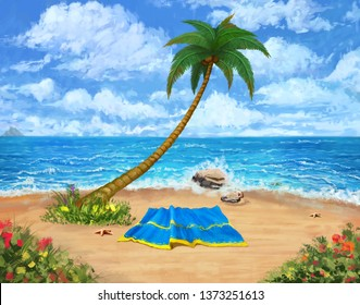 Tropical Beach. Landscape Background and Backdrop. Concept Art. Realistic Illustration. Video Game Digital CG Artwork. Nature Scenery.