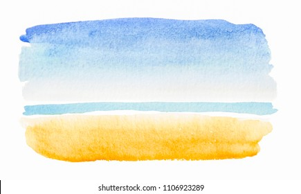 Tropical beach view painted in watercolor on white isolated background with faded blue and yellow. Hand made watercolor shabby texture representing sea, beach, sand, summer artistic painting.