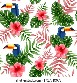 tropical bird seamless pattern with toucans