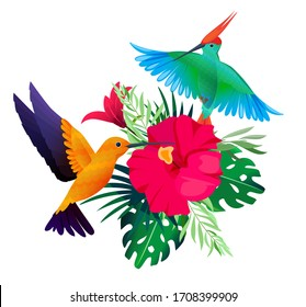 Tropical birds plants. Exotic colored background with parrots and hummingbirds sitting on leaves and flowers picture