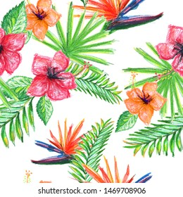 Tropical botanical pattern_flowers and palm leaves
