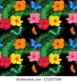Tropical butterflies, hibiscus flowers and palm leaves on a black background. Summer tropical seamless pattern design for wallpaper, paper, textile, fabric.