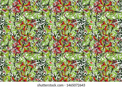 Tropical butterfly seamless pattern in black, white and green colors. Raster illustration. Doodle, sketch, scribble. An image of butterflies. In simple style.