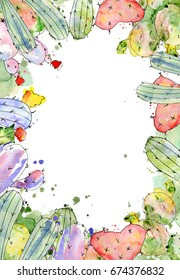 Tropical cactus arrangements, borders, frames watercolor cacti print Summer design for your project, wedding, greeting card, photos, blogs, wreaths, pattern and more
