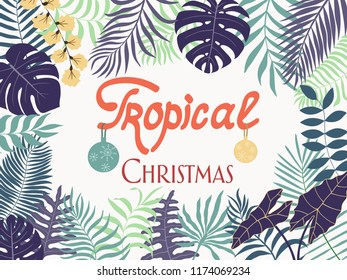 Tropical Christmas background with hand-drawn palm leaves. Card with written phrase