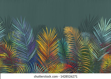 Tropical colored palm leaves. Rainbow neon leaves on a dark background. The mural, Wallpaper for interior print