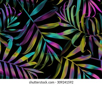 Tropical colorful palm leaves. seamless stylish fashion floral pattern, in Hawaiian style