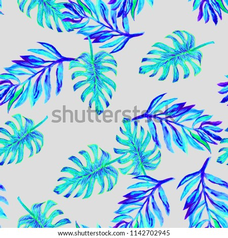 b4e0f899a8a6c0 Tropical colorful seamless watercolour monstera pattern. Hand painted  watercolor monstera. Tropical seamless botanical watercolor