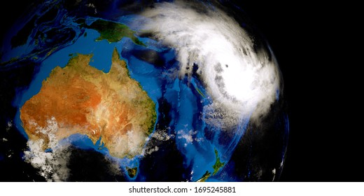 Tropical Cyclone Harold Hurricane 3D image. Elements of this image are furnished by NASA.