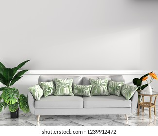 tropical design,armchair,plant,cabinet on granite floor and white background.3 d rendering