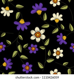 Tropical embroidery floral  seamless pattern
