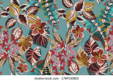 Tropical exotic flowers and leaves fabric design seamless pattern with botanic plant and branch, group small flowers and vintage leafs on tiffany color water background.