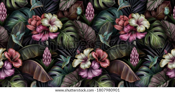 Tropical exotic seamless pattern with birds, monstera, hibiscus, bromeliad, banana leaves, palm, colocasia. Hand-drawn 3D illustration. Good for production wallpapers, cloth, fabric printing, mural