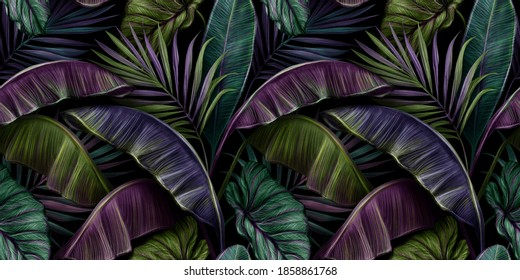 Tropical exotic seamless pattern with dark color vintage banana leaves, palm and colocasia. Hand-drawn 3D illustration. Good for production wallpapers, gift paper, cloth, fabric printing, goods.