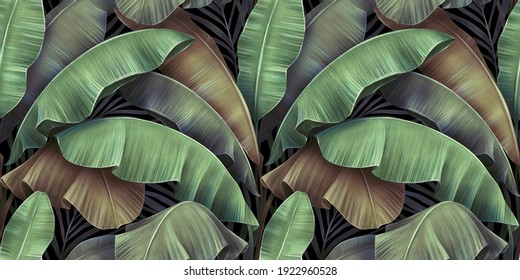 Tropical exotic seamless pattern with luxury vintage banana leaves, palm. Hand-drawn beautiful 3D illustration. Glamorous colorful background design. Good for wallpapers, cloth, fabric printing, goods