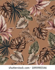 Tropical exotic vintage art leaves seamless pattern wallpaper texture, with tropic monstera leaf, palm leaves, banana and botanic plants illustration repeated on camel color background.