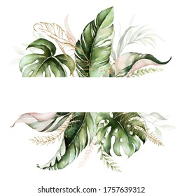 Tropical exotic watercolor floral frame. Green, gold & blush leaves. For wedding stationary, greetings, wallpaper, fashion, background. Palm fern banana green leaves.