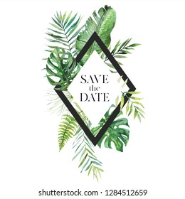 Tropical exotic watercolor floral illustration - leaf wreath / frame with black geometric shape for wedding stationary, greetings, wallpapers, fashion, background. Palm, fern, banana, green leaves.