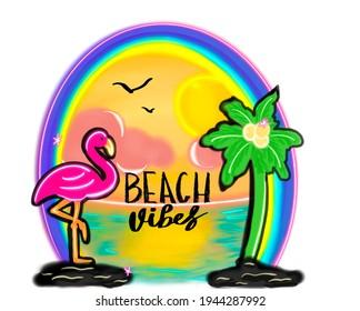Tropical Flamingo Paradise Airbrushed Beach Vibes