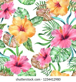 Tropical floral pattern flowers exotic seamless. Flowers pink yellow trendy color watercolor exotic surfing  design vivid print. Watercolor painting blossom flowers.