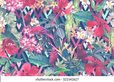 Tropical floral pattern on a dark backdrop. Exotic flowers and tropical foliage seamless pattern. Realistic tropical flowers hibiscus on a geometric backdrop with red parrots and blossom flowers