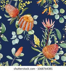 Tropical floral print, orange bangsia flowers, eucalyptus leaves, protea  leaves, blooming mimosa, tropical wallpaper dark background