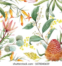 Tropical floral print, orange bangsia flowers, eucalyptus leaves,protea  leaves, blooming mimosa, tropical wallpaper