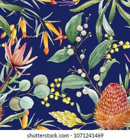 Tropical floral print, orange bangsia flowers, eucalyptus leaves, protea leaves, blooming mimosa, tropical wallpaper dark blue background