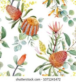 Tropical floral print, orange bangsia flowers, eucalyptus leaves, protea leaves, blooming mimosa, tropical