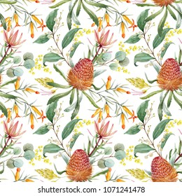 Tropical floral print, orange bangsia flowers, eucalyptus leaves, protea leaves, blooming mimosa, tropical wallpaper