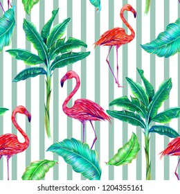 Tropical floral seamless pattern background with banana palm trees, jungle leaves, pink flamingos. Exotic birds illustration. Abstract geometric striped texture. Design for fashion, prints, textile