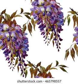 Tropical floral seamless pattern. Wisteria flowers . Exotic. Watercolor painting.