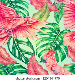 Tropical floral summer watercolor seamless pattern background with jungle leaves, monstera leaf, pink parrots, exotic cockatoo birds