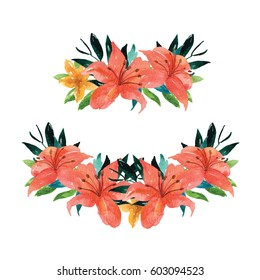 Tropical Floral Wreath, tropical, Watercolor Clip art, Hibiscus, tropical leaf, exotic, palm, clip art, Hand drawn, illustration, spring, summer