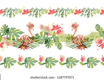 Tropical flower and flamingo bird, hand drawn tropic header or border line, illustration isolated on white background. Floral bouquet, exotic plant leaf and bird, lets flamingle