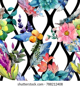 Tropical flower pattern in a watercolor style. Aquarelle wild flower for background, texture, wrapper pattern, frame or border.