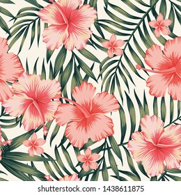 Tropical flower pink hibiscus palm leaves dark green. Exotic beach wallpaper seamless pattern