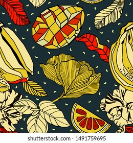 Tropical flowers and fruits, bright print design.