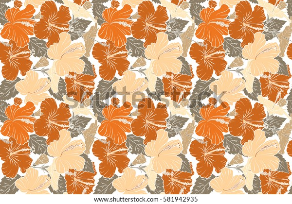 Tropical flowers, hibiscus leaves, hibiscus buds, raster floral pattern on white background in orange and beige colors. Vintage style.
