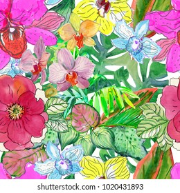 Tropical flowers and leaves. Seamless background. Design for background, texture, wrapper pattern, frame or border.