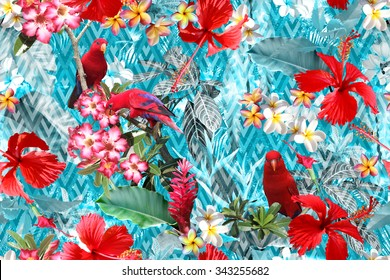 Tropical flowers pattern seamless with red birds and red flowers hibiscus. Tropical forest on a geometric ornament. Blue stripes rhombus background. Layering, translucent effect floral design