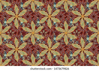 Tropical flowers. Shirt seamless Background Pattern. Flowers on red, gray and orange colors.