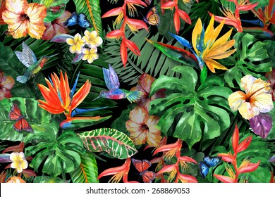 Tropical flowers watercolor pattern exotic leaves and plants. Realistic watercolor painting: butterfly, flying bird of paradise hummingbird, Strelitzia, palm, banana leaves, red hibiscus, plumeria