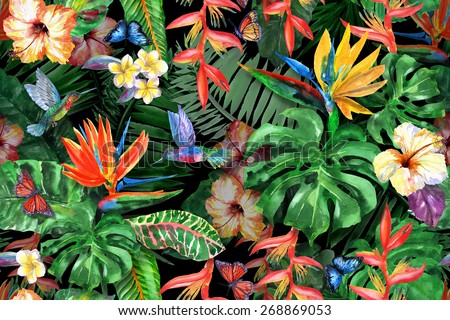 tropical flowers watercolor pattern exotic leaves stock illustration